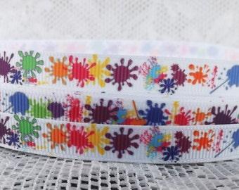 Paint splat ribbon 3/8 in splatter Grosgrain ribbon splatter ribbon