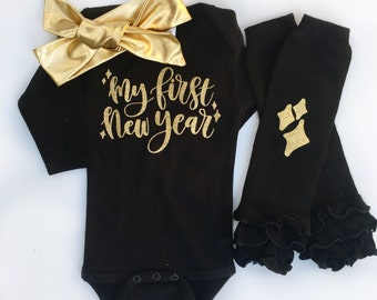 My First New Year, Baby Girl New Years Outfit, My 1st New Year Outfit, Newborn New Years Outfit, Baby New Year Bodysuit,
