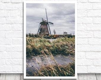 Kinderdijk Print, Windmill Print, Netherlands Print, Windmill Photo Print, Dutch Photo Download, Holland Print, Printable Photo Wall Art