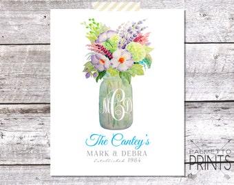 Watercolor Mason Jar Personalized Wedding Print - 8x10 Print *Digital Item*