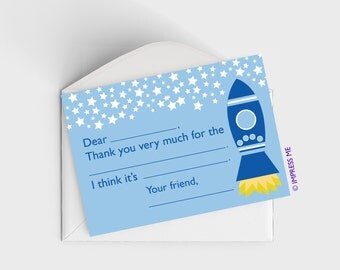 15 - Fill In The Blank Thank You Cards for Kids Rocket Ships Boys
