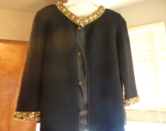 Vintage 1960s Embellished Wool Knit Evening Sweater by Ohrbachs
