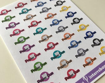 A53 - Paper Due - Planner Stickers