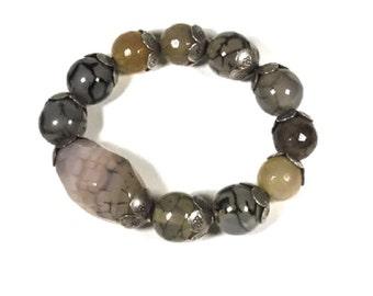 Grey quartz beaded bracelet, silver beaded stretch bracelet, statement bracelet, fashion bracelet, 925 Thai silver, gemstone bead bracelet