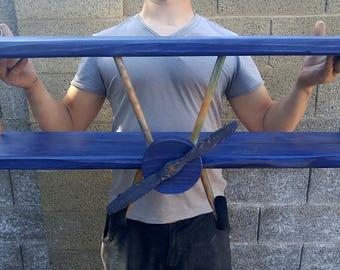 XL Navy Blue Airplane Shelf, Biplane Shelf, Blue Airplane Shelf, Blue Aircraft, Airplane Decor