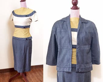 Vintage 1950s suit / 3 Piece Women's Suit / Jersey Wool / Gray / Mustard / Fitted /