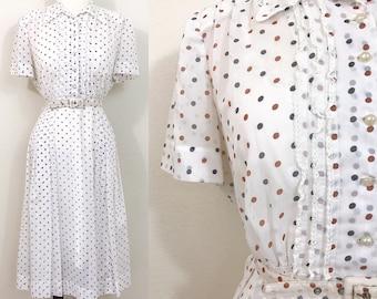1940s Vintage Dress / Vintage 40s dress / Sheer / Polka dots / Lace