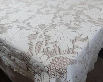 1940s Vintage Lace Tablecloth in 2 Tone Ecru Cotton, 58 x 65, Grape & Leaf Pattern on Net, Vintage Table Linens, Vintage Lace Tablecloth