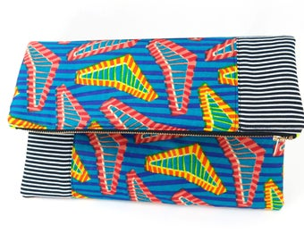 African Striped on Stripes - Fold-Over | Blue | Red | Yellow | Black | White | Stripes