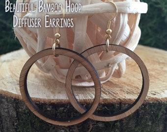 Bamboo Hoop Diffuser Earrings