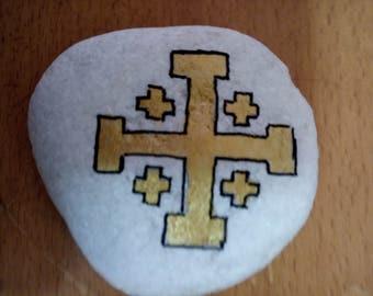 Handpainted rock, Stone,  Cross of  Jerusalem ,Art Paper Weight, Door Stopper,