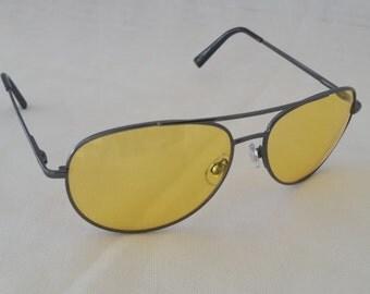 Aviator Night Drivers Glasses.  Yellow Night Drivers Sunglasses. Aviator Yellow Lenses Glasses