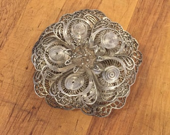 1960s Mexican Silver Filigree Flower Brooch