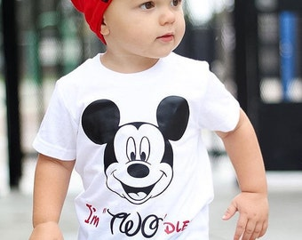 Mickey 2nd Birthday tee or tank top I'm TWOdless Two  Party T Shirt  Custom name or Color