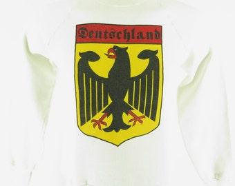 Vintage 80s Germany Sweatshirt L 50/50 Deutschland Screen Stars USA [H30I_0-12_Shelf]