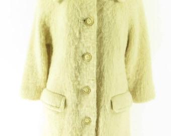 Vintage 60s Icelandic Wool Long Coat Womens 12 Eider Knit Overcoat [H31E_3-7_Long]