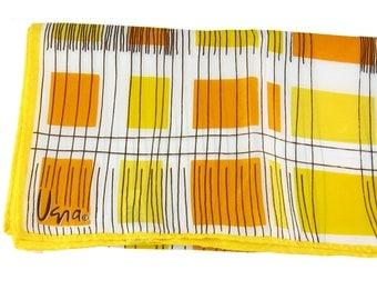 Vintage Vera Scarf Vera Neumann Yellow Scarf Geometric Scarf Designer Scarf Square Scarf Rolled Edge Scarf Spring Scarf Summer Scarf