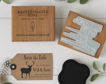 Personalised Save the Date Wedding Rubber Stamp - Stag Design