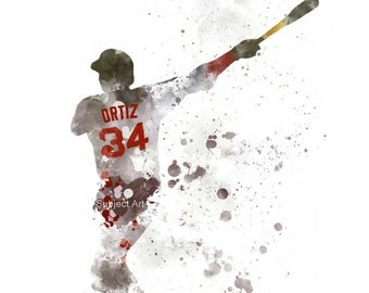 David Ortiz inspired ART PRINT illustration, Boston Red Sox, Baseball, Sport, Wall Art, Home Decor