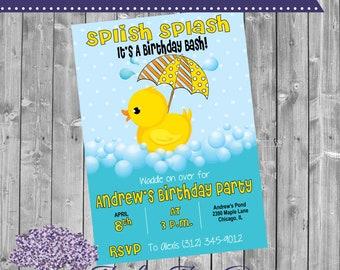 Rubber Duck Birthday Invitation - Duck Bday Invite - Duckie - Splish Splash - Birthday Theme - Birthday Party - Duck Shower - Pool - Tub