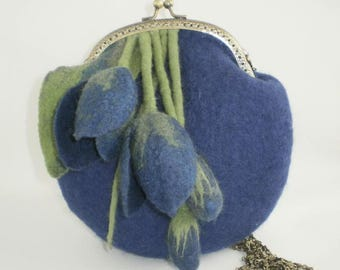 "Bag of wool ""Blue Tulips"" Handmade"