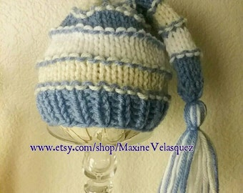 Blue, cream and white striped tassel beanie cap knit newborn baby hat photo prop made to order