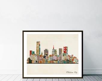oklahoma city skyline. oklahoma cityscape. oklahoma poster. colorful pop art skylines for home decor.Giclee art print.color your world