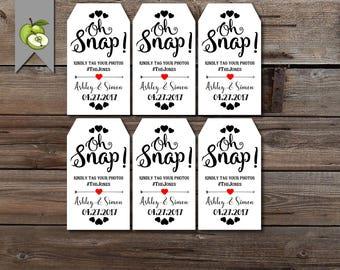 Custom wedding tag, oh snap, social media tag, hashtag, Personalised gift tags, custom tags, Tags, custom, digital file, PRINTABLE, AD1