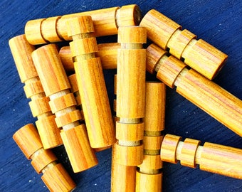 Wood beads, Customizable, 11 pieces, Mustard color, hand carved