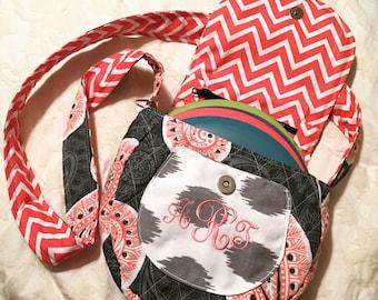 Disc Golf Bag - Handmade - Coral and Gray