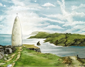LARGE Ireland Landscape Painting - the Beacon of Baltimore - Ireland Painting - Seascape painting - Lighthouse painting