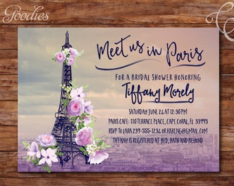 Paris Bridal Shower Invitation - Eiffel Tower - Flowers - Purple
