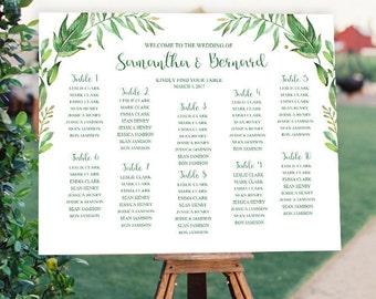 Garden Wedding Seating Chart Sign Printable Botanical Wedding Seating Sign Greenery Seating Chart Spring Wedding Sign Seating Plan Sign