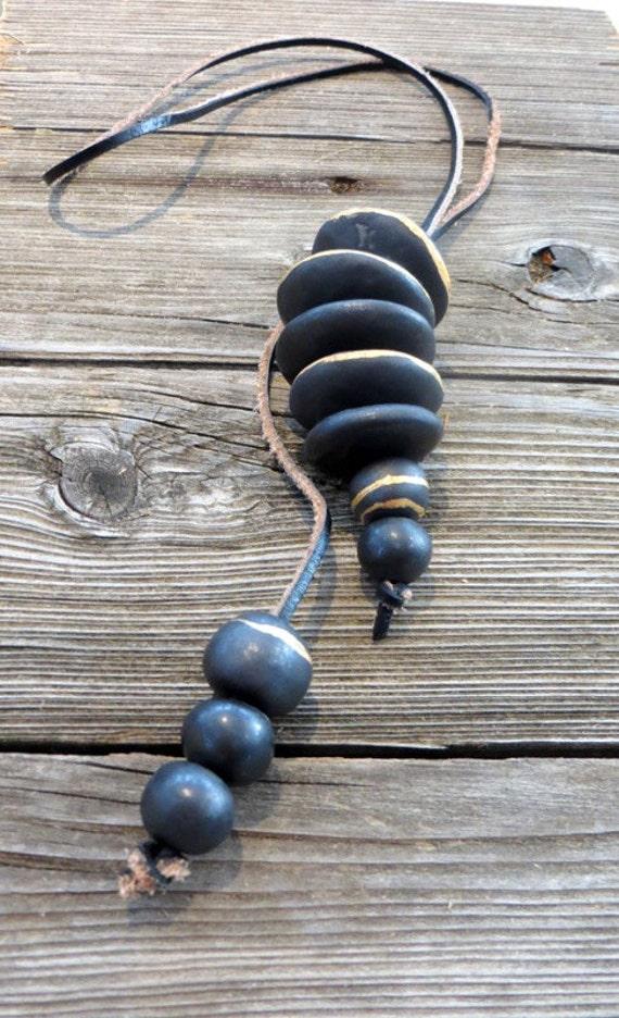 Unusual, black + gold, 26karat gold, ceramic, rustic, necklace