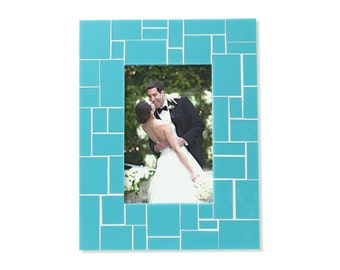 Turquoise Picture Frame – Stained Glass Frame in 5x7 or 4x6