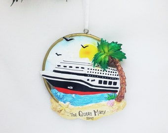FREE SHIPPING Cruise Ship and Palm Tree Personalized Christmas Ornament / Cruise Ornament