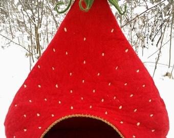 Cat house, Strawberry cat cave, pet house, cat vessel, woolen cat bed, custom design, hand made