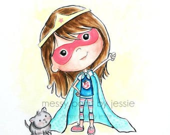 Super Hero Girl, Super hero illustration, Children's Wall Art, Art for girls room, Kids Wall Art, Art for Superhero, Blue, Pink