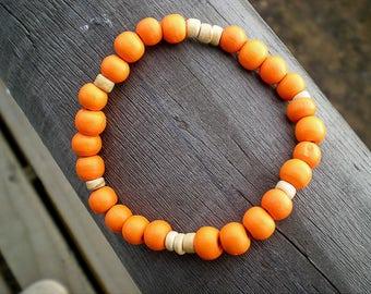 Elastic bracelet with wooden beads, orange, beaded bracelet, wooden bracelet, woman, teen, adjustable, beach, summer, man
