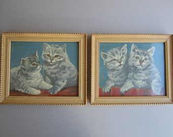 Paint by Number - Kittens - Pair of Vintage Wood Framed, with Glass - Wall Decor,  1970's