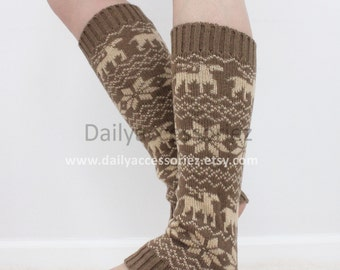 spring sale reindeer womens leg warmers, soft knit leg warmers, leg warmers adult, boot socks, for girls, for women, for her, for mom