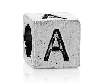 """Letter """"A"""" Block Style-European Charm Bead For All Large Hole Charm Bracelet And Necklace Chain. 7x7mm"""