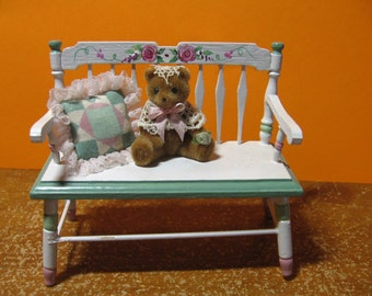 Bench, bear and pillow attached, signed Sally Dohrman, 1992, miniature, diorama, display, vintage (Bear on Bench)