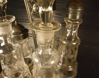 vintage cruet set silver plate with etched glass