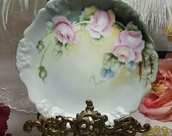 "ANTIQUE, Artist Signed, R. C. Bavaria Pensee Pink Roses with Blue Accents 6 1/4"" Plates circa 1891-1904"