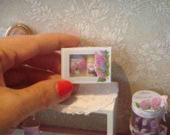 Dollhouse Perfum body care gift box. Lilac Blossom Collection. 1:12 Miniature bath complement for dollhouses. Perfumery dollhouse miniature.