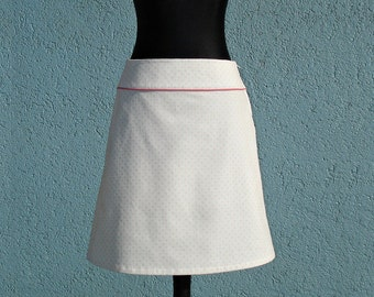 Corduroy skirt SWEETY white with pink dots ladies skirt skirt corduroy women white with pink dots