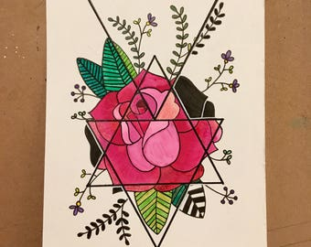 SALE Triangles and Rose Original Watercolor