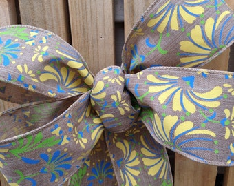 Spring print Bow ribbon yellow blue floral Chair Pew summer wedding gift bows garland spring decoration summer party