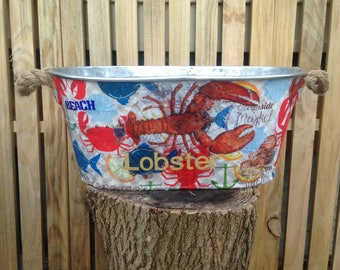 Lobster galvanized oval bucket tin wedding card holder, decoupage seaside ocean summer clambake, lobster festival decoration centerpiece